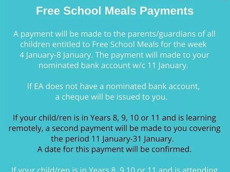 Free School Meal Update- Jan 21
