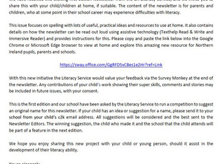 Literacy Service Newsletter Letter to Parents