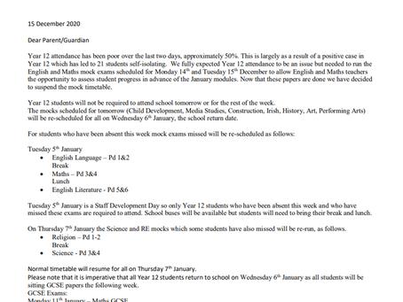 Principals Letter - 15th December