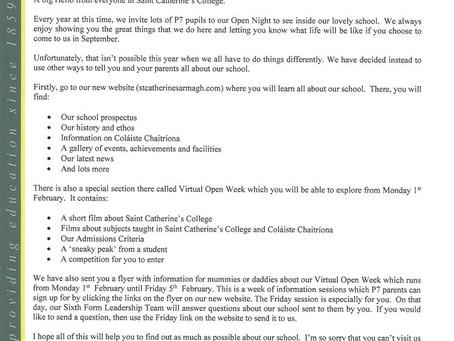 Letter to P7 Pupils Jan 2021