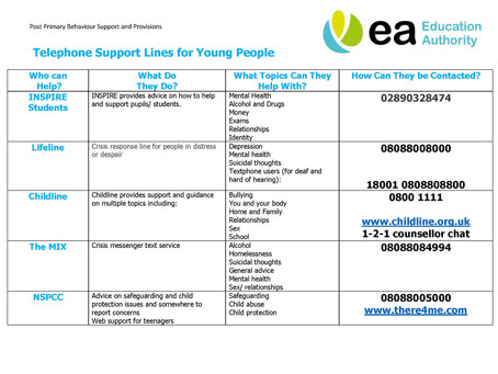 EA Support links for Young People