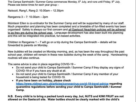 Summer Camp Letter