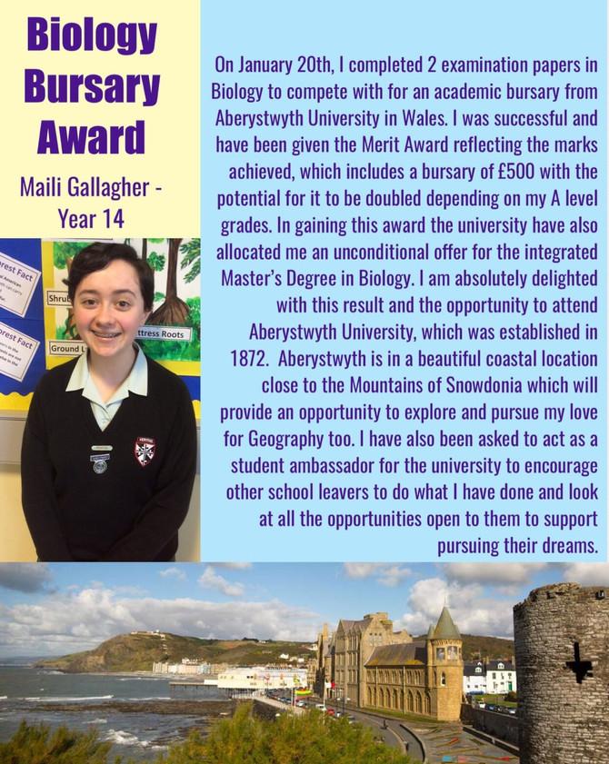 Biology Bursary Award