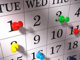 Calendar Dates Coming Up