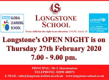 Open Night 2020 - Thursday 27th February 2020
