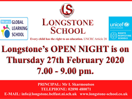 Open Night 2020 - Thursday 27th February 2020