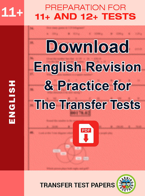 Download English practice for the AQE Transfer Test and the GL English Transfer Test
