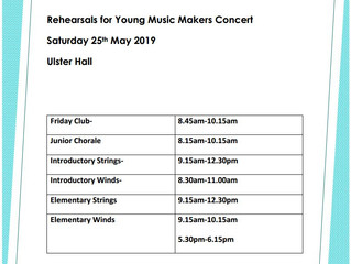 Rehearsals for Young Music Makers Concert - 25th May