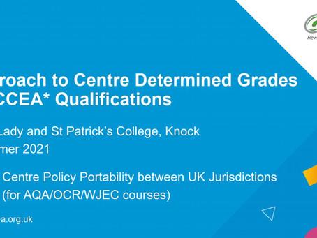 Centre Determined Grades, Summer 2021