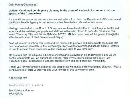 Update: Continued contingency planning in the event of a school closure