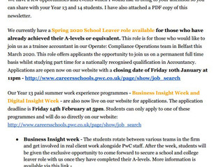 PWC School Leaver Opportunities & Events