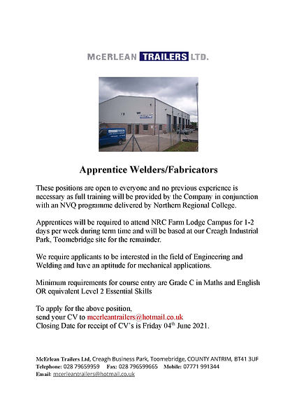 McErlean Trailers - Apprenticeship Ad Ma
