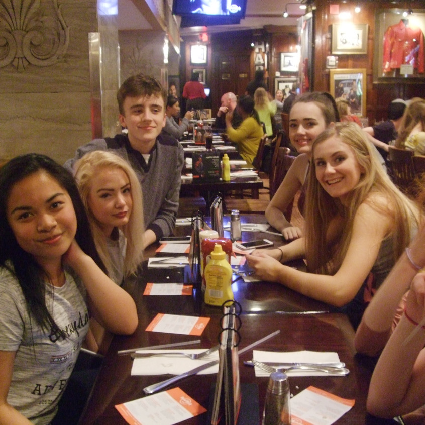 "GSL students enjoy some ""down time"" in Hard Rock Café, Washington, DC"
