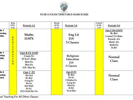 Year 11 Exam Timetable 2020