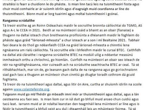Letter from the Principal/Litir ón Phríomhoide Feabhra 2021