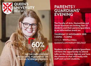 QUB Parents'/Guardians' Evening - Thursday 21 November 2019