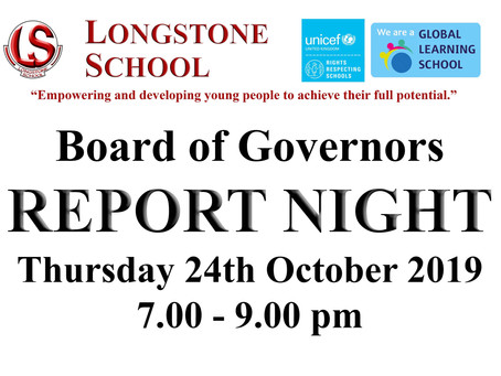 Board of Governors Open Night - Thursday 24th October 7-9pm