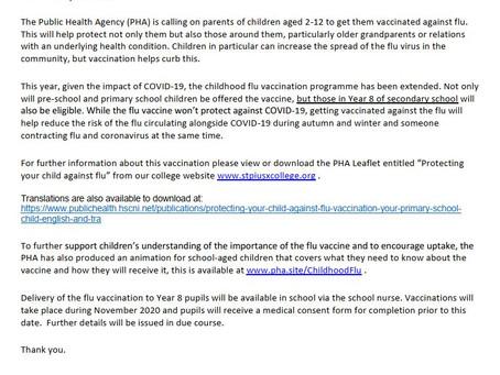 Flu Vaccine Letter