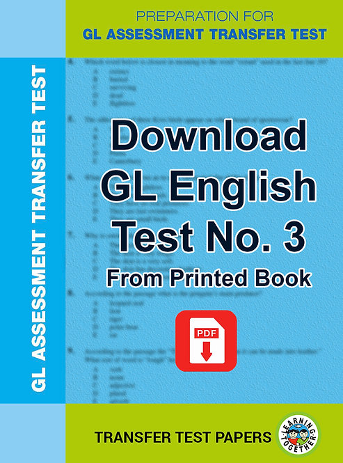 Download GL English Transfer Test number 3 for immediate use
