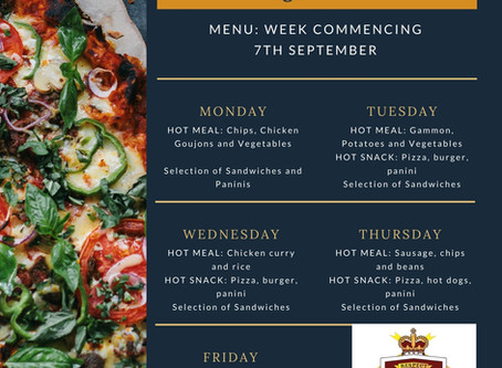Canteen Menu - Week Commencing 7th September