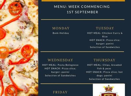 Canteen Menu - Week Commencing 1st September
