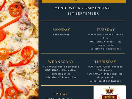 Canteen Menu - Week Commencing 1st September