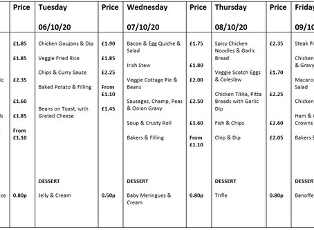 Canteen Menu Week Commencing 5th October
