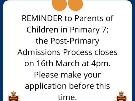 Reminder: Post-Primary Admission Process