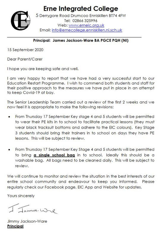 Revision Measures Letter - 15th September 2020