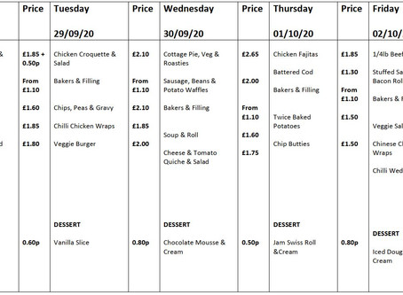 Canteen Menu Week Commencing Monday 28th September