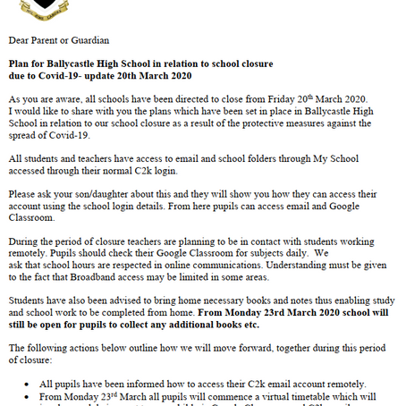 Parent Update COVID-19