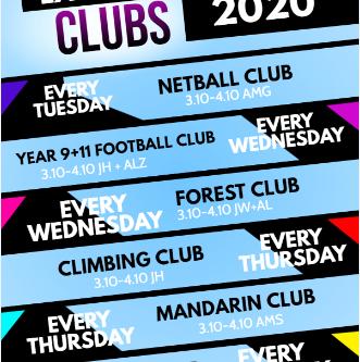Extra Curricular Clubs 2020