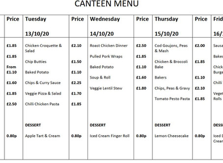 Canteen Menu - Week Commencing 12th October