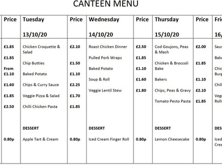 Canteen Menu - Week Commencing 12th October