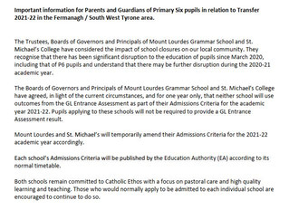 Joint Statement From Enniskillen Schools re Academic Selection