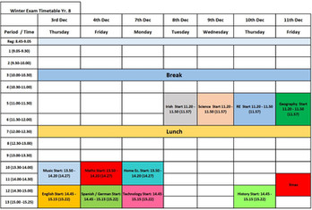Exam Time Table Winter 2020