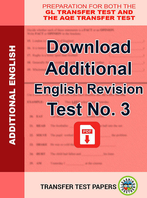 Additional English Transfer Test No 3 as PDF download