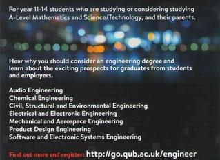 QUB Engineering Parents' Evening - Thursday 7 November 2019
