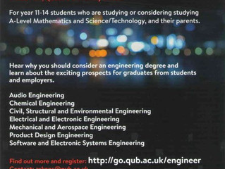 QUB Engineering Parents' Evening - Thursday 7 November 2019