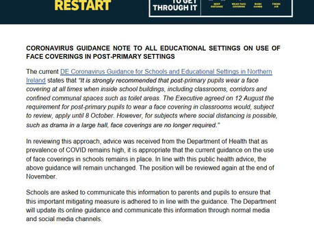Guidance note on use of face coverings in post-primary settings