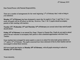 Important School Dates - February
