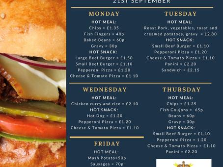 Canteen Menu: Week Commencing 21st September