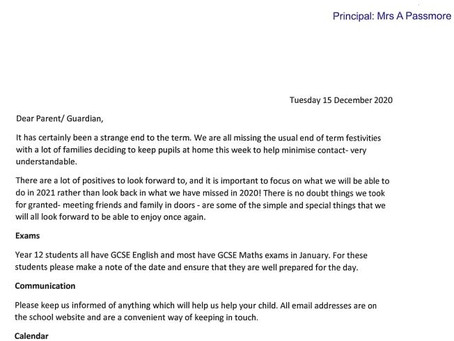 Letter to Parents - 15 December