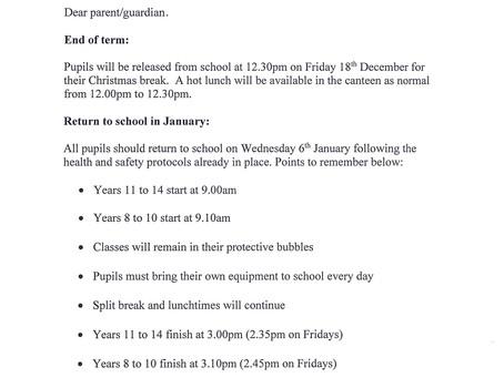 Christmas Holiday Information