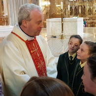 Students pictured with Bishop Michael Router. We were honoured to be the only secondary school from the Diocese that participated in a special Mass following the announcement that Fr. Michael had been appointed Auxiliary Bishop.