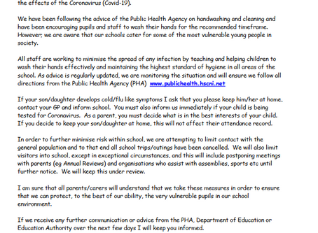 COVID19 Letter to Parents