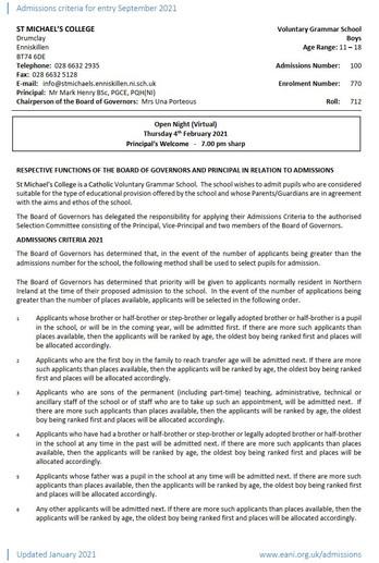 Admissions Criteria 2021