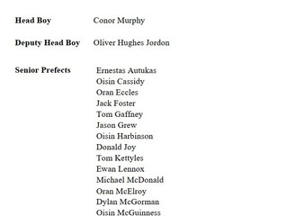 Head Boy Deputy Senior Prefects List 2020 2021