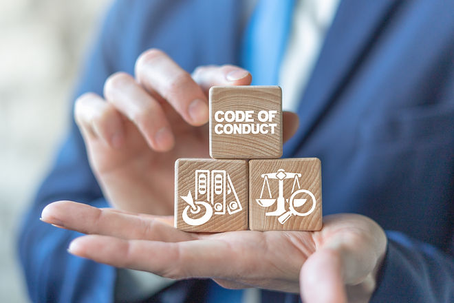 Code of conduct business concept on wood