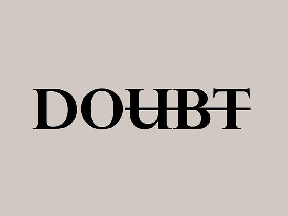 The word 'doubt' written in bold upper case type across the centre of a page, with the U, B, and T stricken-throgh to leave the word 'do'